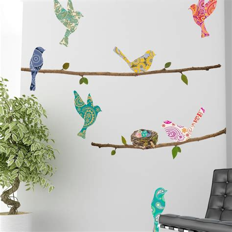 Bird Wall Stickers wall decal paisley birds branches wallsorts