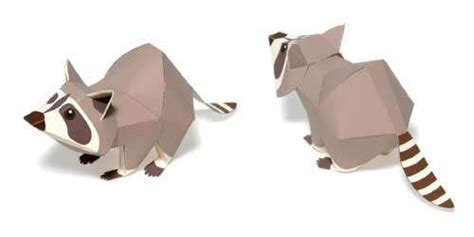 Origami Raccoon - 8 best images of 3d printable paper animals crafts free