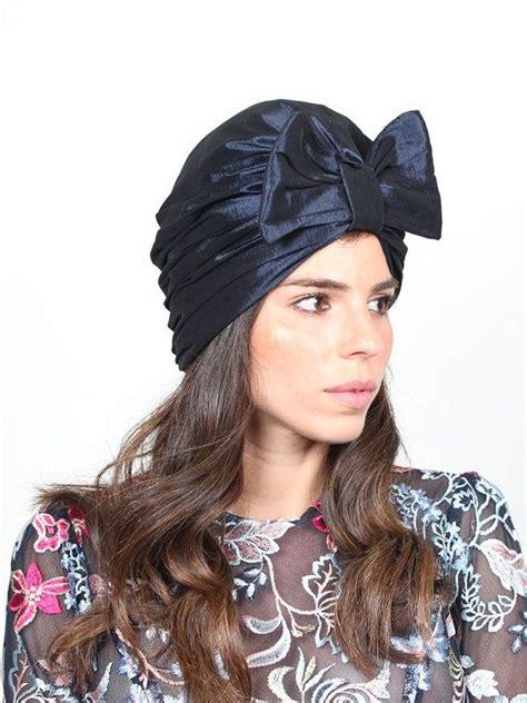 Turban Bow turban bow hat blue turban hat chemo hat turban with