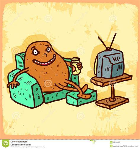 couch potato icon cartoon couch potato illustration vector icon stock