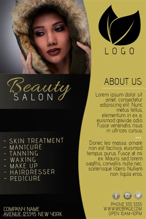 beauty salon flyer template gold and black beauty salon flyer template postermywall