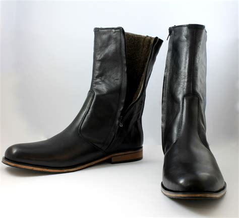 Handcrafted Leather Boots - handmade black leather boots boot for