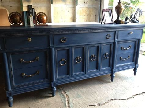 Blue Painted Furniture | navy blue painted vintage dresser by twice loved furniture