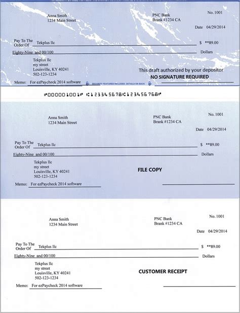 Ezcheckdraft Easy To Use Check Draft Software Bank Of America Check Printing Template