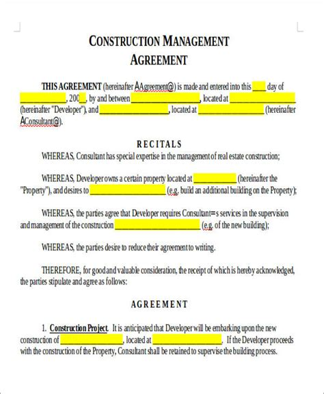 construction management agreement agreement forms in doc