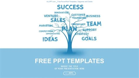 Simple Business Powerpoint Templates Concept Blue Word Tree Leadership Marketing Or Business Simple Business Powerpoint Templates