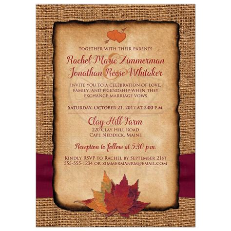 Country Home Decor Cheap Fall In Love Photo Wedding Invite Faux Burlap Printed