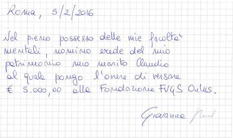 testamento olografo lasciti testamentari fondazione fvgs