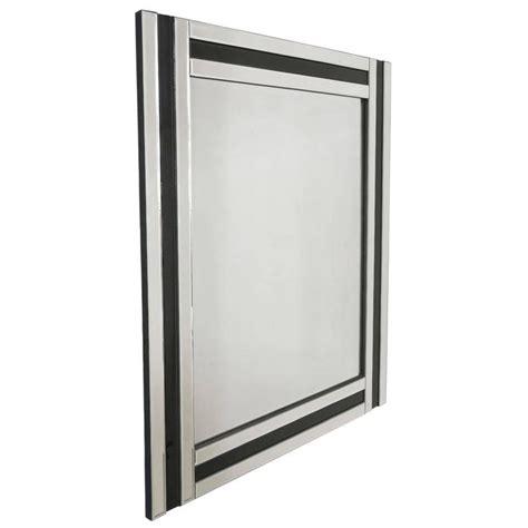 mid century modern black glass and mirror rectangular wall