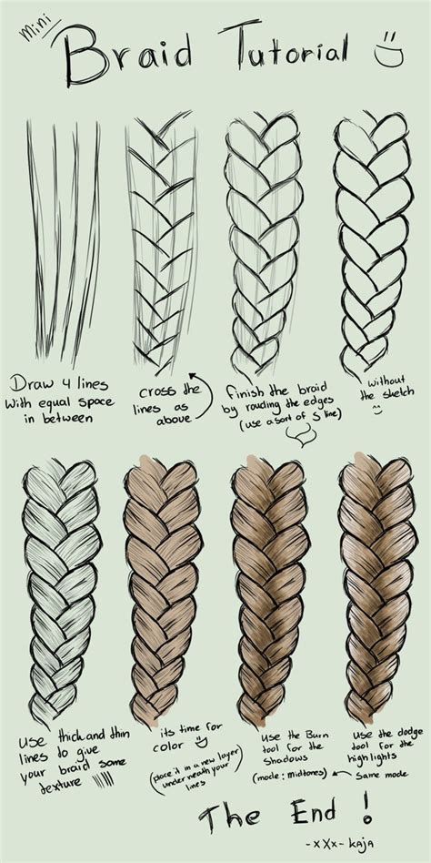 Drawing Of A With Braids by Mini Braid Tutorial By Kajanijssen On Deviantart
