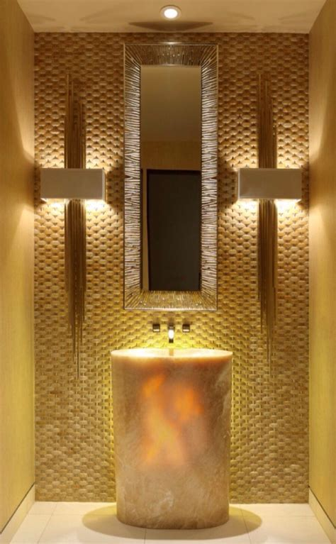 gold bathroom tile lightup onyx stone sink gold accents bath room dreams