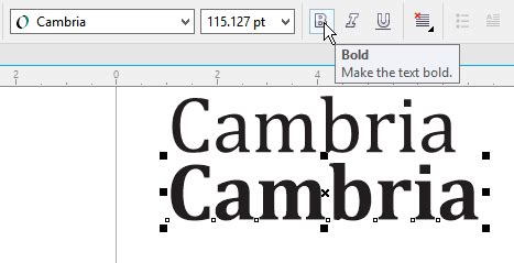 corel draw x4 options greyed out bold option greyed out in cambria but works for ariel