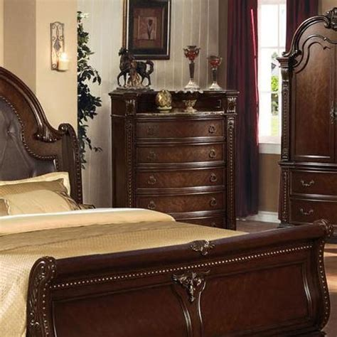 dark cherry anondale collection marble top bedroom set acme furniture anondale chest of drawers w marble top