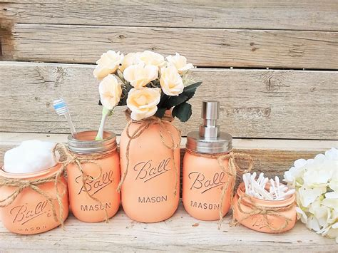 peach bathroom decor mason jar bathroom decor peach bathroom set painted mason