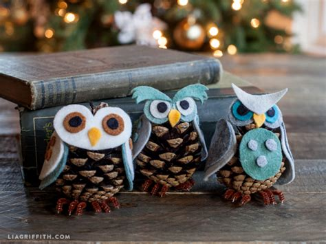owl creations from pine cones and fluff craft felt pinecone owl ornaments