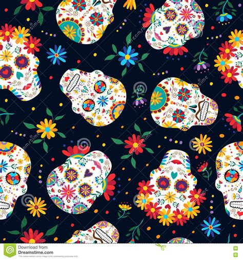 day of the dead background day of the dead floral skull pattern background stock