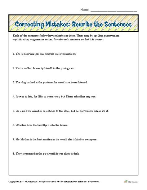 sentence correction worksheets homeschooldressage com