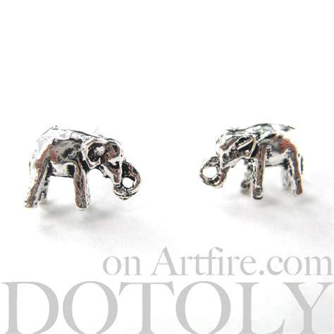 3d miniature elephant animal stud earrings in sterling