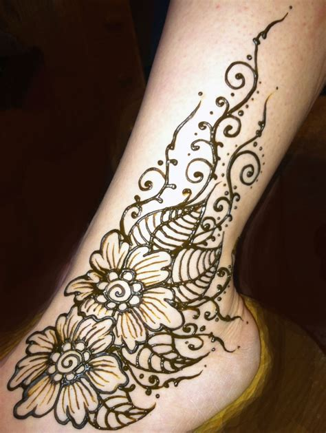 henna tattoos ankle henna flowered ankle henna by cynthia mcdonald