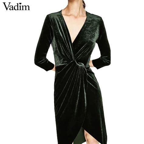 Cross V Neck Sleeve aliexpress buy cross v neck velvet dress winter sheath three quarter sleeve