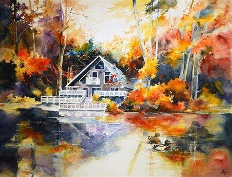 lake house bright watercolor landscape autumn forest