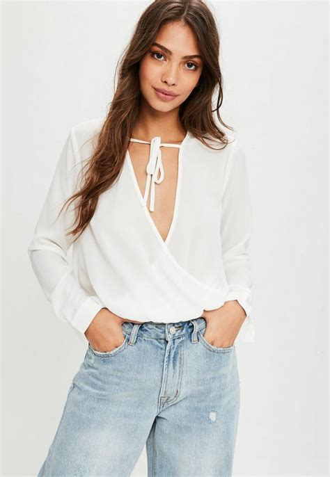 White Wrap Blouse With Tie by White Chiffon Tie Detail Wrap Blouse Missguided