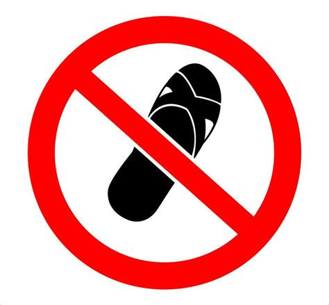 no slippers allowed sign admission policies