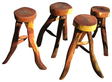 Rustic Outdoor Bar Stools by Rustic Wood Bar Stool Set Outdoor Bar Stools And