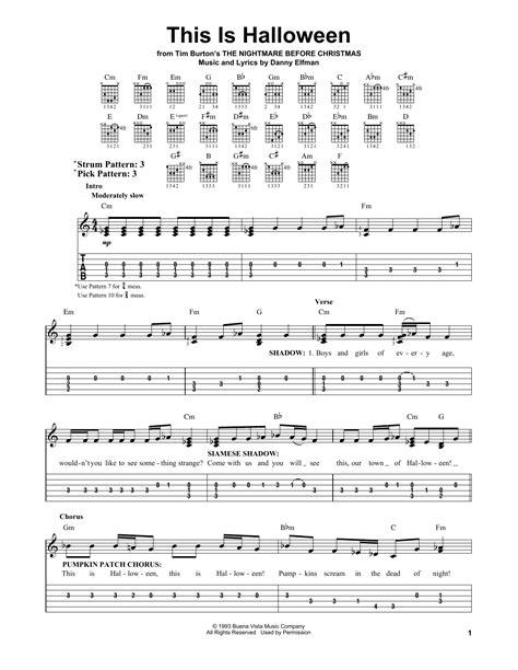 danny elfman halloween music this is halloween sheet music by danny elfman easy guitar
