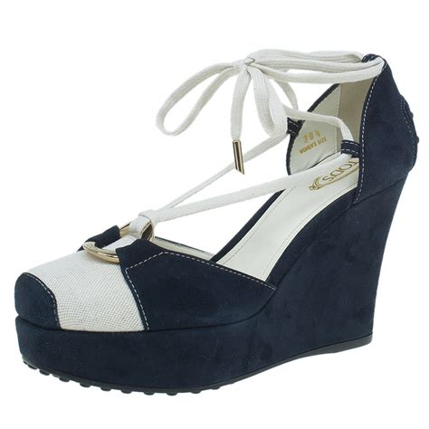Fioni Wedges Blue Suede Size 7 5 39 Heels 10cm tod s navy blue suede and canvas lace up wedge sandals size 39 5 buy sell lc
