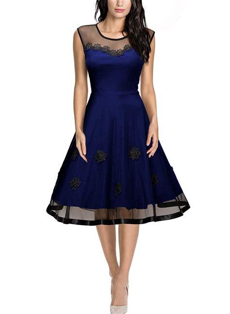 missmay blaues abendkleid vintage er rundhals kleid