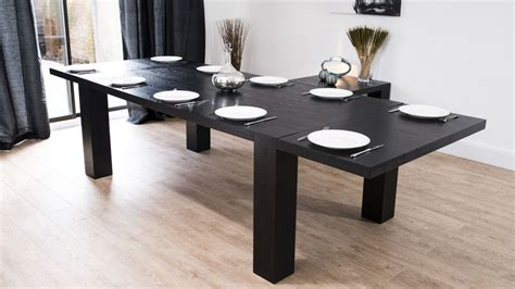 Dining Tables Large Modern Large Extending Black Ash Dining Table Chunky Legs Seats 14