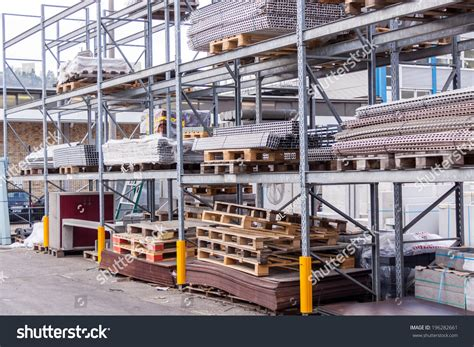 warehouse yard layout building and construction materials for sale stored on