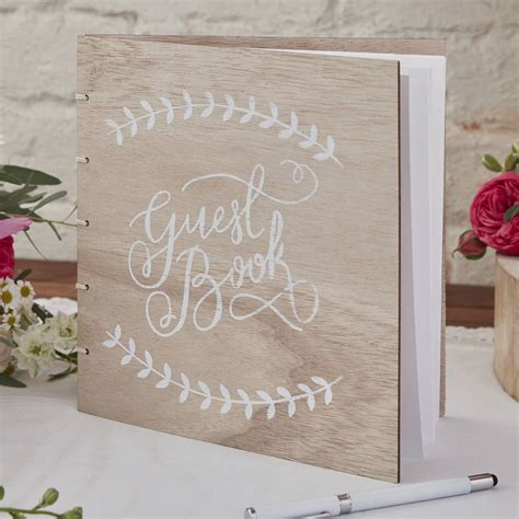 Wedding Guest Book Cover Page by Boho Wooden Wedding Guest Book By