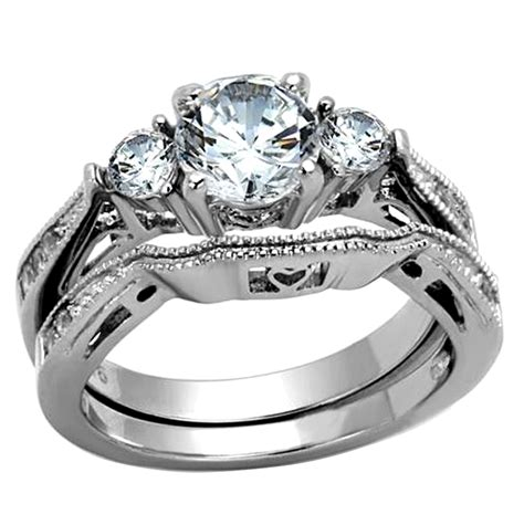 stainless steel cubic zirconia wedding ring sets cut s stainless steel wedding ring set cubic