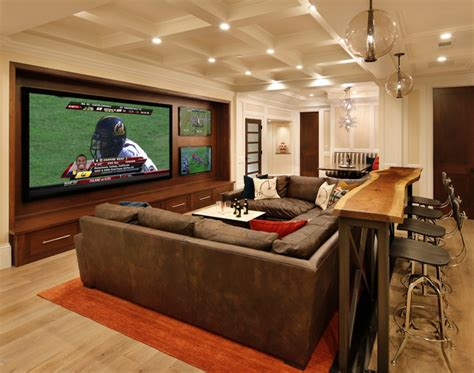 houzz media room family room home theater and bar traditional home