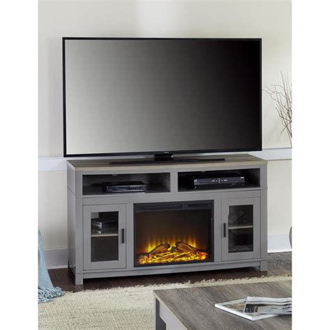 electric fireplace tv stand home depot carver gray electric fireplace 60 in tv stand 1774096com
