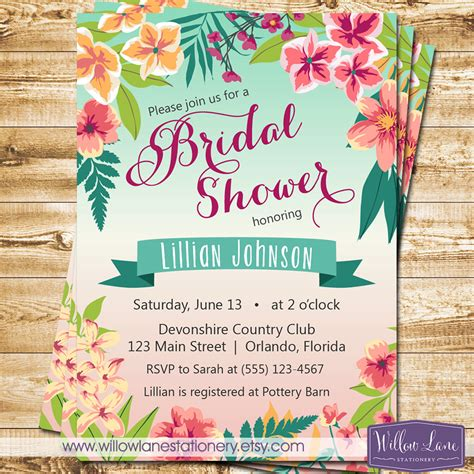 tropical bridal shower invitation island flowers hawaiian - Luau Wedding Shower Invitations