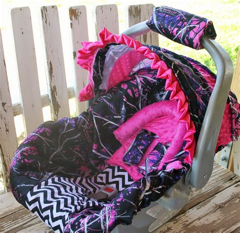 muddy pink camo seat covers pink muddy camo w black chevron infant car seat cover and