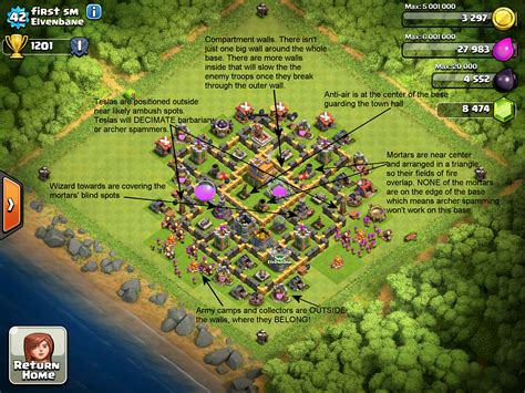 layout for th7 exle bases clash of clans corner