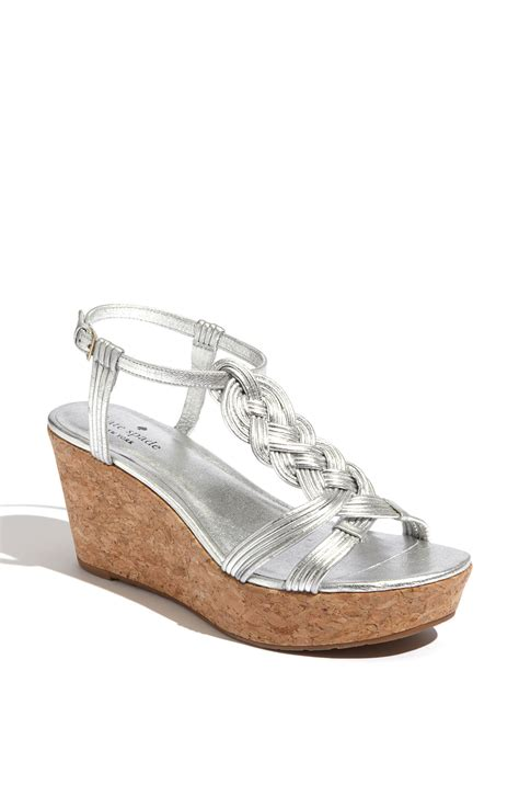 silver cork wedge sandals kate spade becca silver leather cork wedge sandal in