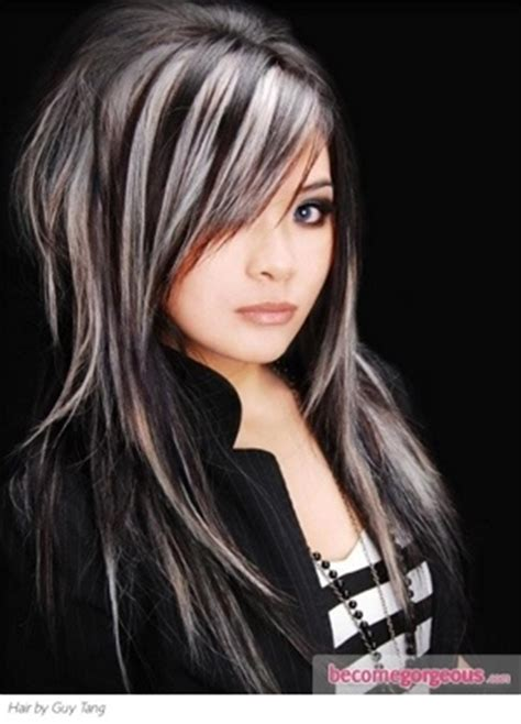 black lowlights in white gray hair white highlights highlights on black hair and highlights