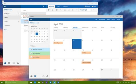 mail and calendar app been updated in windows 10