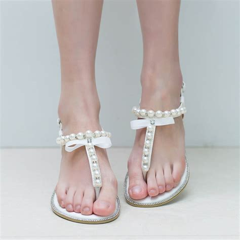 White Wedding Flats by Brand Shesole Pearls Sandals White Wedding Flats T Bar