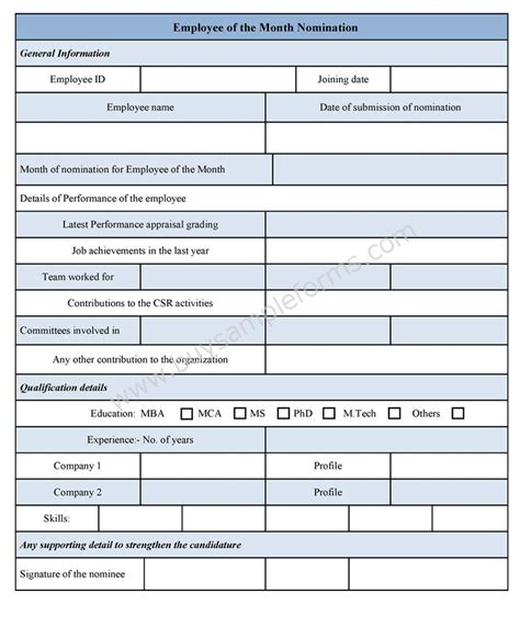 employee of the month criteria template employee of the month nomination form sle forms