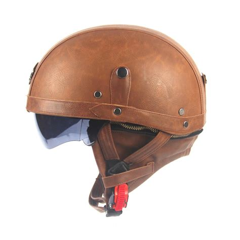 leather motorcycle helmet motorcycle motorbike rider half open face pu leather