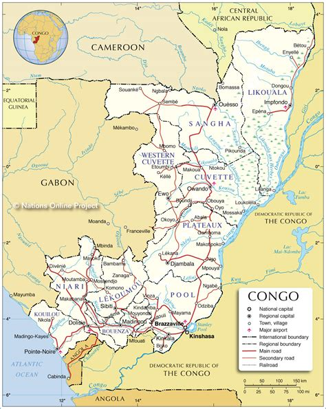 congo map administrative divisions of the republic of the congo