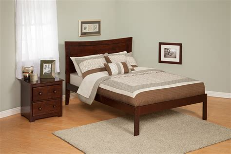contemporary metro size platform bed open foot rail