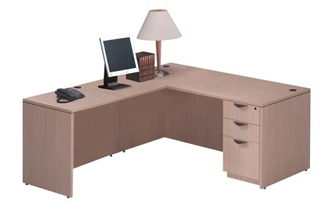 mahogany desk l shaped maple laminate l shaped desk with box box file pedestal