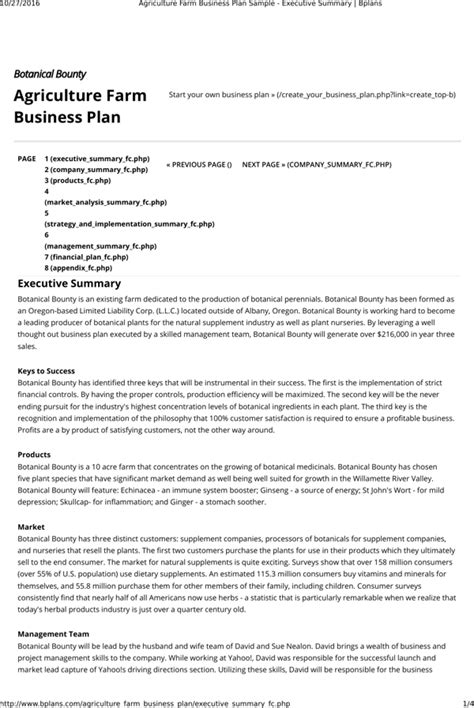 Download Agriculture Farm Business Plan Template For Free Formtemplate Farm Business Plan Template